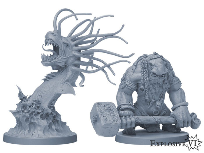 Blood Rage Sea Serpent and Troll Miniatures