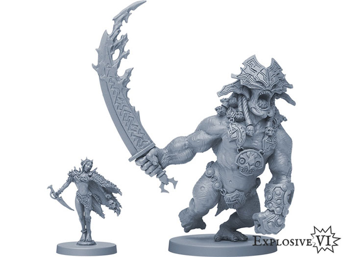 Blood Rage Volur Wtich and Fire Giant Miniatures