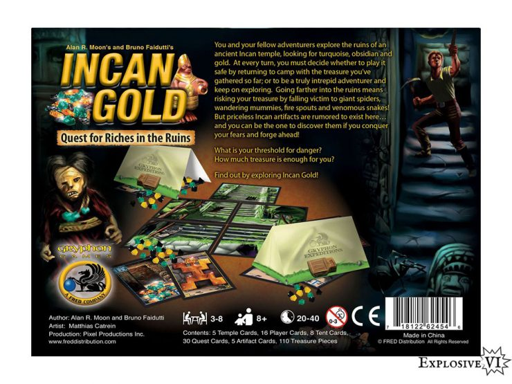 Incan Gold Board Game Box Back