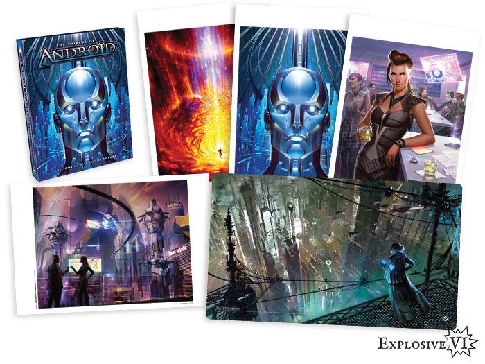 Worlds of Android Netrunner Premium Hardback Art Book Playmat & Prints